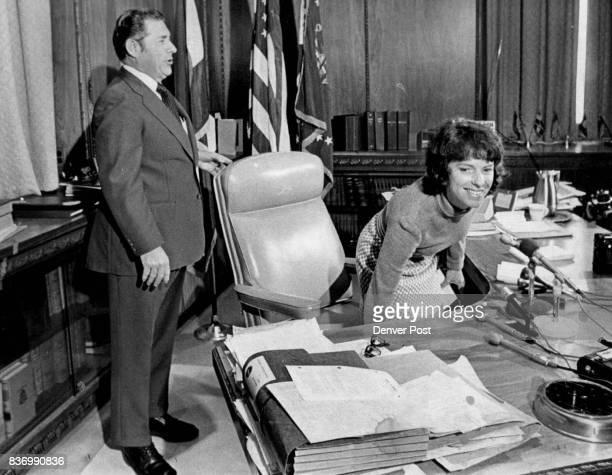 Mrs Mary Estill Buchanan is helped by Gov John Vanderhoof in sizing up New Desk In appointing her secretary of state Vanderhoof passed up two...