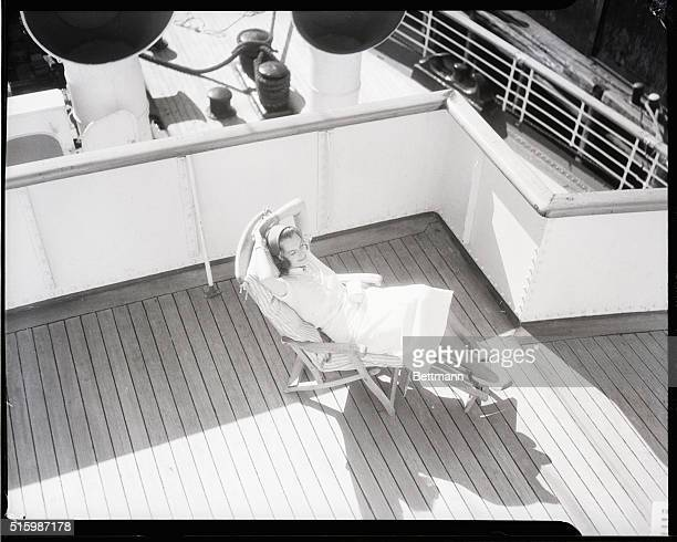 Mrs Moray Monhahan seated in a steamer chair on the sundeck Undated photograph