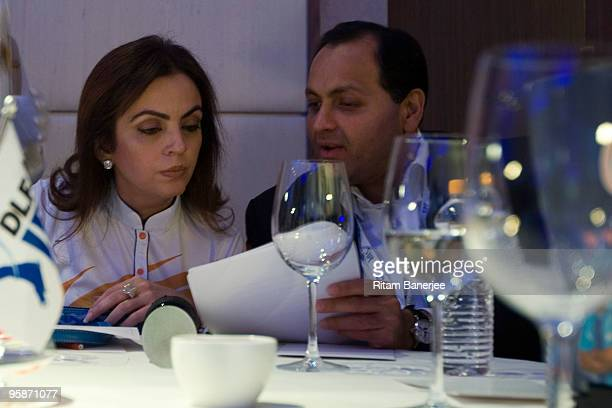 Mrs Nita Ambani Owner of the Mumbai Indians Team attends the Indian Premier League Auction 2010 on January 19 2010 in Mumbai India