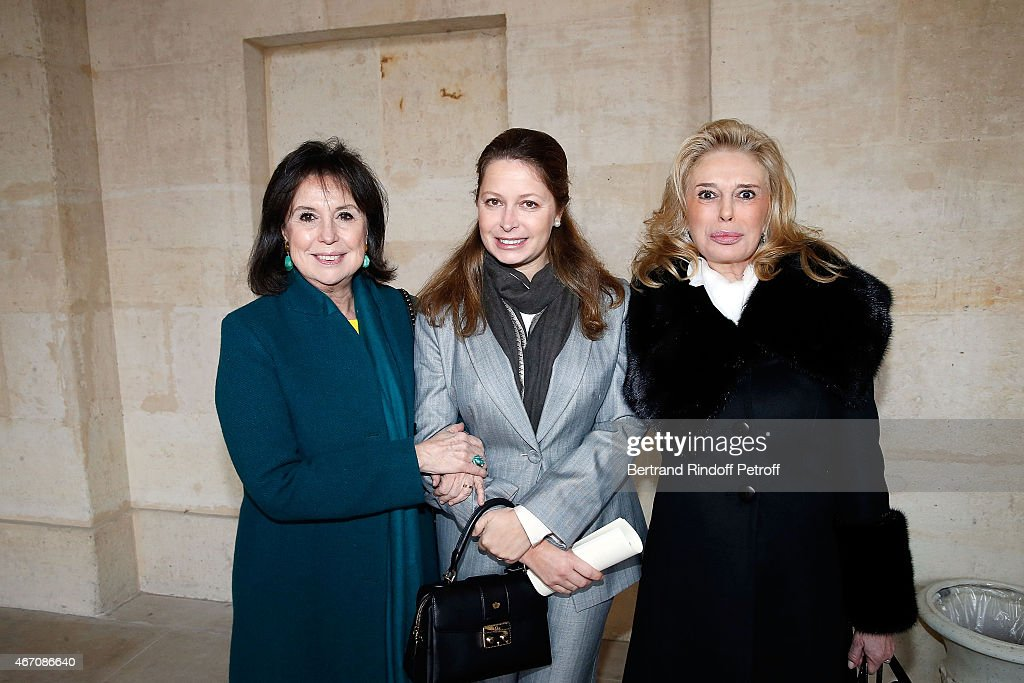 Mrs Pierre Gallienne, Sylvie d'Arenberg Berggruen and Barbara Hennessy attend the mass given in memory of the 100 year anniversary of Prince Ernest Charles D'Arenberg's death in the First World War at Les Invalides on March 20, 2015 in Paris, France.