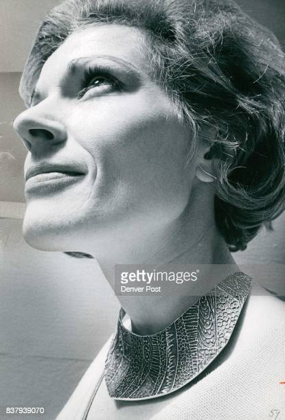 Mrs Robert Woodberry chairman of 'Meet the Artists' days wears sterling silvergorget from art show The piece is by Michael Croft Credit Denver Post