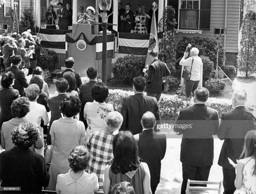 Mrs. Rose Kennedy speaks at a dedication ceremony at the birthplace of John F. Kennedy in Brookline, MA on May 29, 1969.