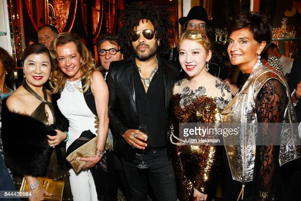 Mrs Song Caroline Scheufele Lenny Kravitz Baccarat owner Coco Chu and Baccarat CEO Daniela Riccardi attend the Baccarat Goldfinger party in paris on...