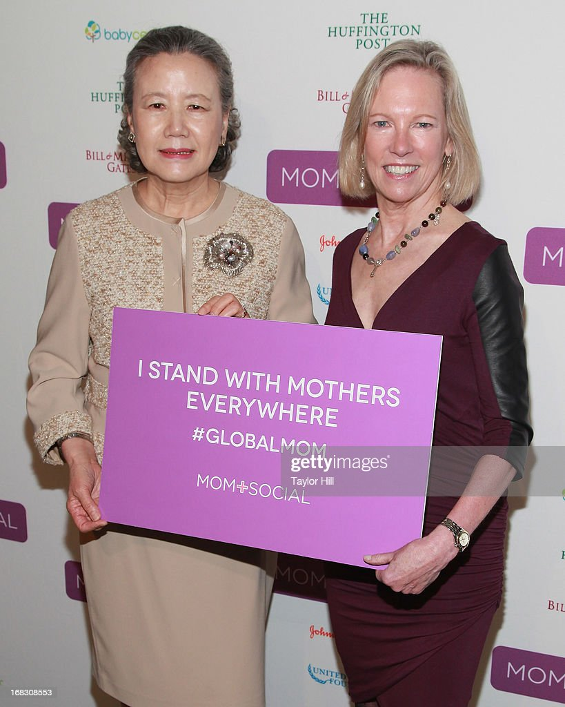 Mrs. Soon-taek Ban, wife of the Secretary General of the United Nations, and Kathy Calvin, CEO of the United Nations Foundation, attend the Mom + Social Event at the 92Y Tribeca on May 8, 2013 in New York City.