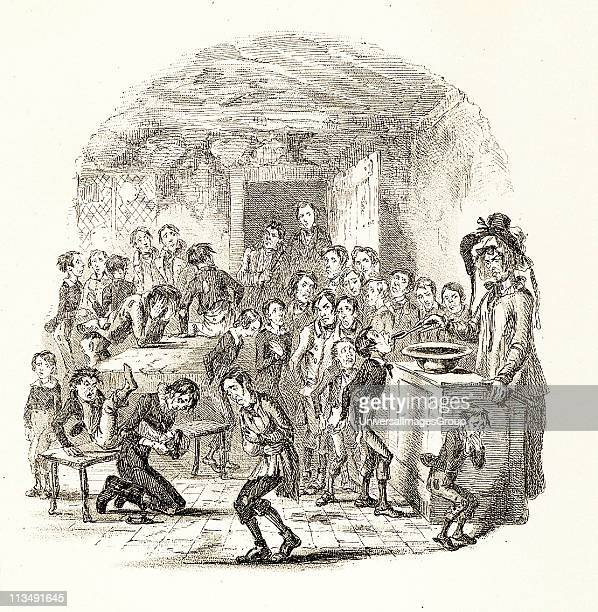 Mrs Squeers administering a compulsory dose of brimstone and treacle to the starving pupils of Dotheboys Hall Illustration by 'Phiz' for Charles...