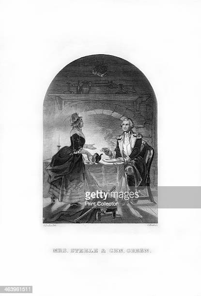 'Mrs Steele and General Green' c1770s Scene from the American Revolutionary War in which American General Nathanael Greene arriving at Mrs Steele's...
