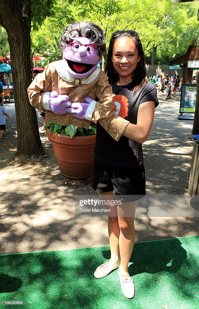 Mrs. Thistletwat, Kate Lippstreu, of Avenue Q visits at Bronx Zoo on July 12, 2012 in New York City.