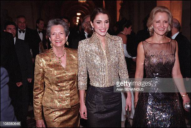 Mrs Valery Giscard d'Estaing Queen Rania of Jordan and Mrs Andres Pastrana in Versailles France on December 03 2001