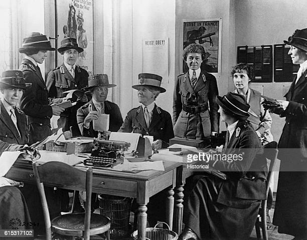 Mrs WK Vanderbilt works with her assistants in the offices of the American Red Cross in Paris during World War I
