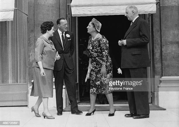 Mrs Yvonne de Gaulle Prince Bernhard Queen Juliana and President Charles de Gaulle at the Elysee Palace on September 20 1961 in Paris France