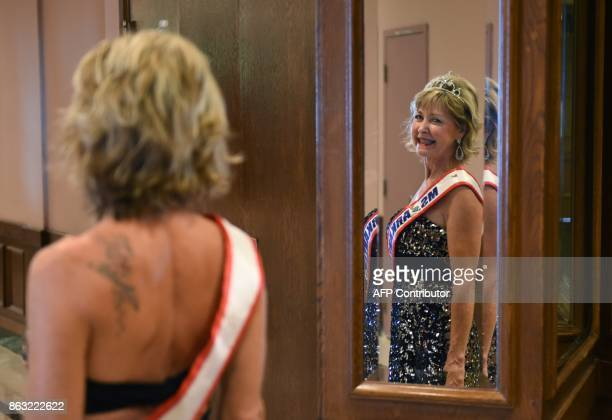 Ms Arkansas Sherry Marshall looks in the mirror before the finals of the 38th Annual National Ms Senior America 2017 Pageant held at the Resorts...