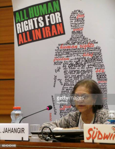 Ms Asma Jahangir the UN Special Rapporteur on the situation of human rights in Iran in Geneva Switzerland on March 13 2017 She was speaking with NGOs...