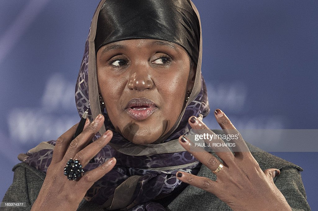 Ms. Fartuun Adan of Somalia delivers remarks after she was presented with the Secretary of State's International Women of Courage Award inside the Dean Acheson Auditorium of the US Department of State March 8, 2013, in Washington. The Secretary of State's International Women of Courage Award annually recognizes women around the globe who have shown exceptional courage and leadership in advocating for women's rights and empowerment, often at great personal risk. Since the inception of this award in 2007, the Department of State has honored 67 women from 45 different countries. AFP Photo/Paul J. Richards
