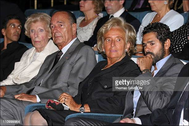 Ms Georges Pompidou Jacques and Bernadette Chirac and Djamel Debbouze in soiree gala to benefit of the Claude Pompidou Foundation in Paris France on...