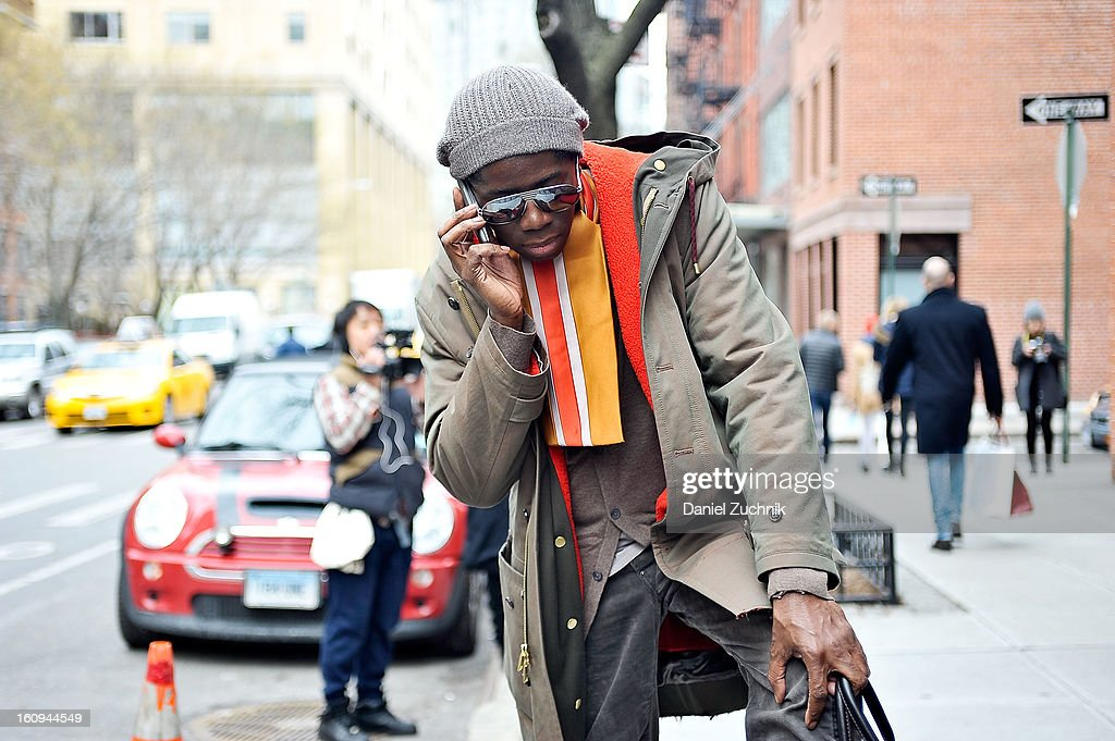 Ms. J seen outside the Duckie Brown show on February 7, 2013 in New York City.