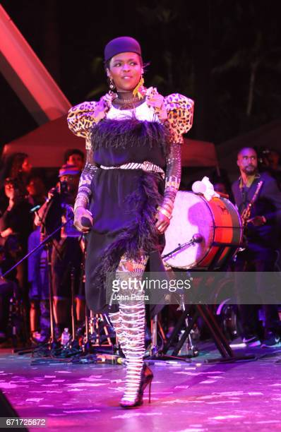 Ms Lauryn Hill performs at Kaya Fest at Bayfront Park Amphitheater on April 22 2017 in Miami Florida