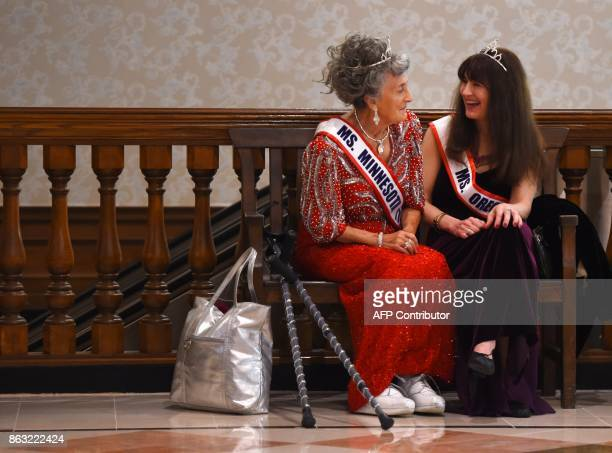Ms Minnesota Liz Johnson talks with Ms Oregon Dianne Hennacy Powell before the finals of the 38th Annual National MsSenior America 2017 Pageant held...