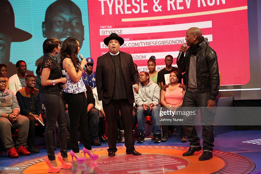 Ms. Mykie and Kimberly 'Paigion' Walker host BET's '106 & Park' with celebrity guests Rev Run and Tyrese, at 106 & Park Studio on February 4, 2013, in New York City.