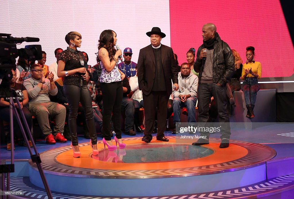 Ms. Mykie and Kimberly 'Paigion' Walker host BET's '106 & Park' with celebrity guests Rev Run and <a gi-track='captionPersonalityLinkClicked' href=/galleries/search?phrase=Tyrese&family=editorial&specificpeople=206177 ng-click='$event.stopPropagation()'>Tyrese</a>, at 106 & Park Studio on February 4, 2013, in New York City.