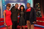 Ms Mykie Shorty Da Prince Kerry Washington and Jamie Foxx visit at 106 Park Studio on December 14 2012 in New York City