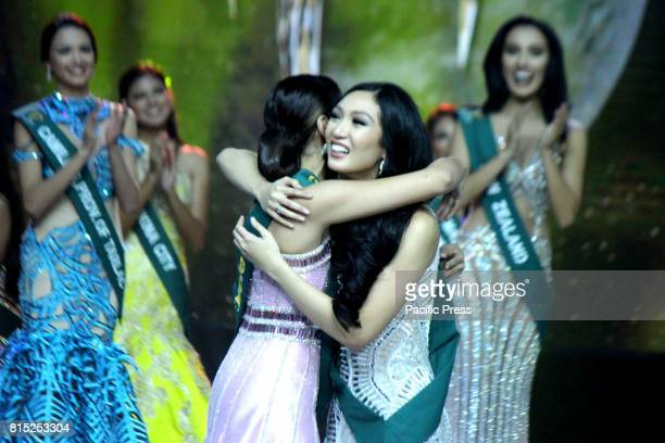 Ms Philippines Earth 2017 Karen Ibasco of Manila City emotionally hugs to Ms Philippines Water 2017 Jessica Marasigan of Caloocan City during Miss...