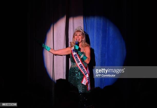 Ms Senior America 2016 Peggy Lee Brennan Haberer is highlighted on stage during the finals of the 38th Annual National Ms Senior America 2017 Pageant...
