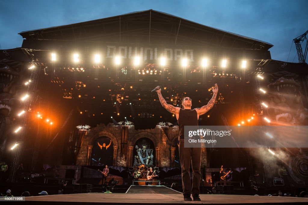 M.Shadows of Avenged Sevenfold performs headlinging on stage at day 1 of Download Festival at Donnington Park on June 13, 2014 in Donnington, United Kingdom.