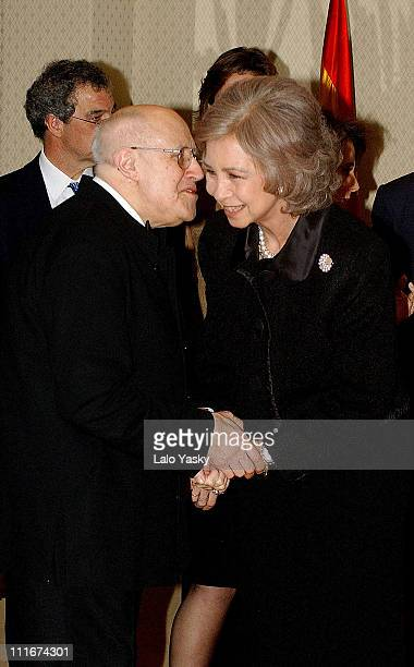 Mstislav Rostropovich and Queen Sofia after the concert