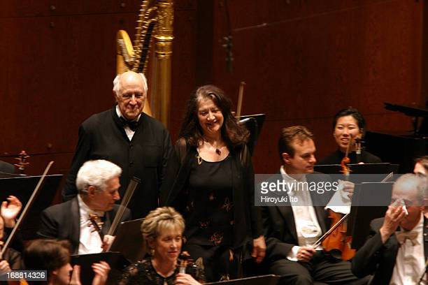 Mstislav Rostropovich conducting New York Philharmonic on Wednesday night April 27 2005This imageMstislav Rostropovich and Martha Argerich at curtain...