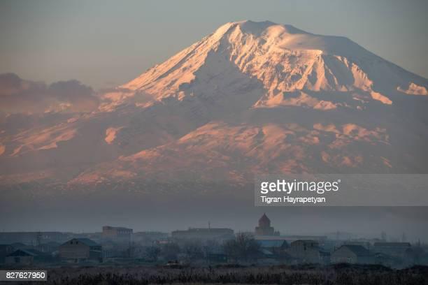 Mt Ararat at dawn, view from Ararat valley, Armenia
