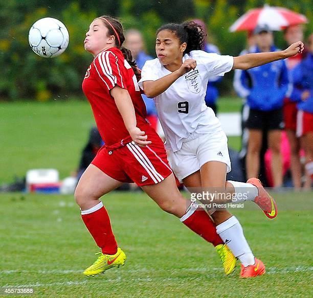 Mt Ararat Katelyn Hutchins and Brunswick Maeve Arthur battle for the ball as Brunswick hosts Mt Ararat in girls high school soccer