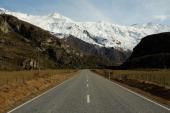 Mt Aspiring road leading to Treble Cone ski resort on July 28 2011 in Wanaka New Zealand