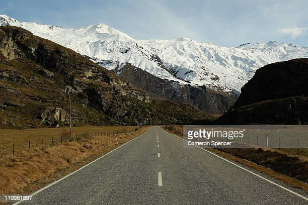 Mt Aspiring road leading to Treble Cone ski resort on July 28 2011 in Wanaka New Zealand