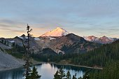 Mt. Baker and Iceberg Lake viewed from Herman Saddle at sunrise, Mt. Baker-Snoqualmie National Forest