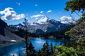 A view of Mt Baker in back of one of the Chain Lakes.