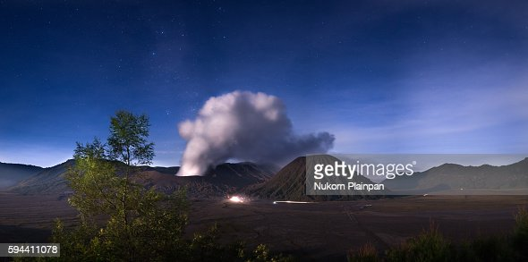 Mt. Bromo at night time.