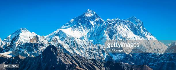 Mt Everest 8848m towering over Himalayan mountain peaks panorama Nepal