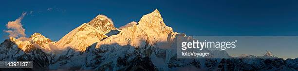 Mt Everest golden sunset panorama Himalayan mountain peaks Nepal