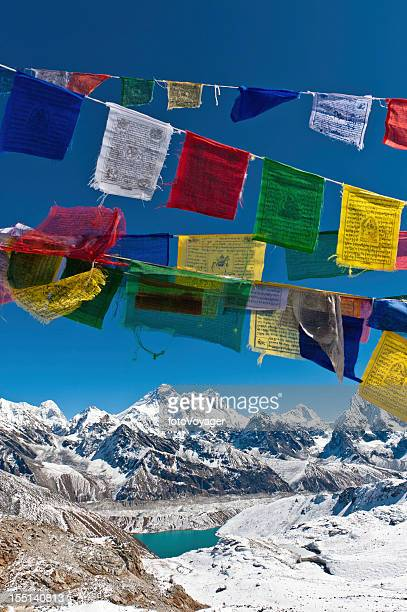 Mt Everest snow mountain summit colorful prayer flags Himalayas Nepal