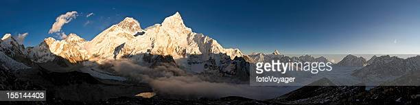 Mt Everest summit sunset panorama Khumbu Glacier Himalayas Nepal