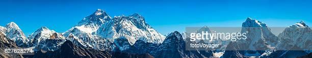 Mt Everest super panorama iconic Himalaya mountain peaks summits Nepal