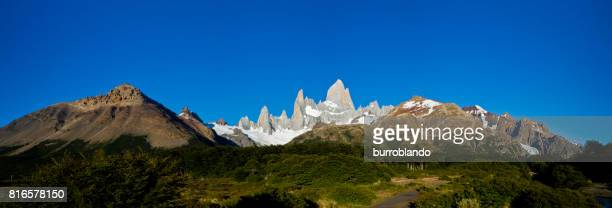 Mt Fitz Roy shines on a perfect day in in Glaciers National Park in Argentina, Patagonia, South America