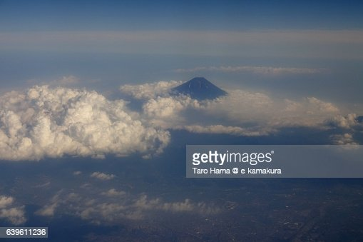 Mt. Fuji aerial view from airplane : ストックフォト