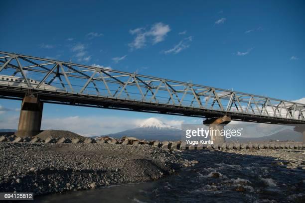 Mt. Fuji and a Shinkansen Bullet Train