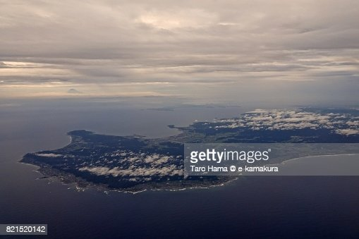 Mt. Fuji and Boso peninsula sunset time aerial view from airplane : ストックフォト