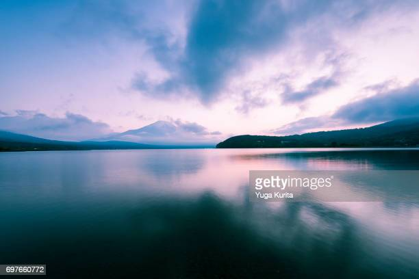 Mt. Fuji and Clouds Reflected in a Lake