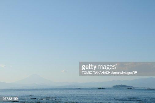 Mt Fuji and Enoshima Island viewed from  Kamakura. Enoshima, Kamakura, Kanagawa Prefecture, Japan