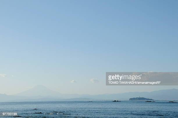Mt Fuji and Enoshima Island viewed from  Kamakura. Enoshima, Kamakura, Kanagawa Prefecture, Japan