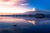 Mt Fuji and lake Kawaguchi in the morining see blue sky