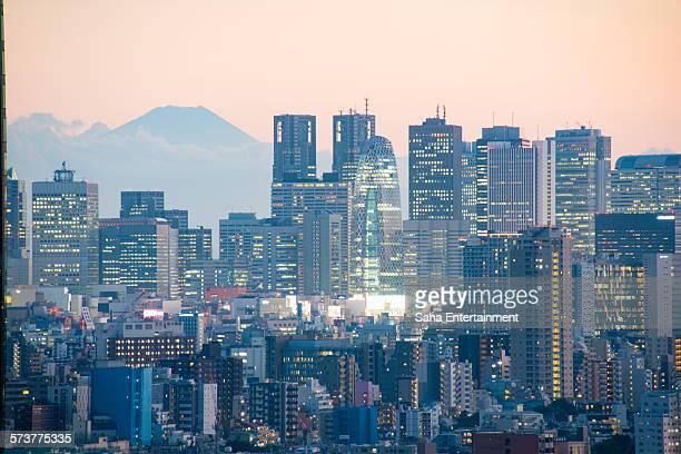 Mt Fuji and Shinjuku Buildings at dusk